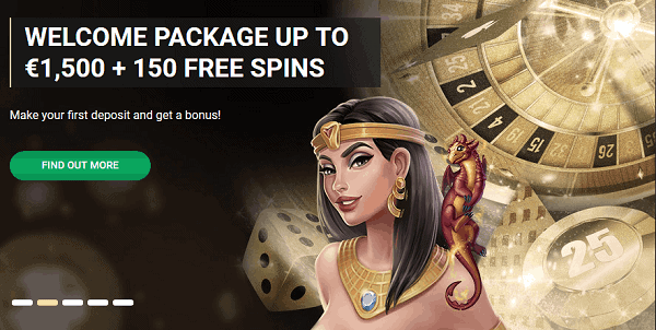 1500 EUR welcome bonus and 150 free spins