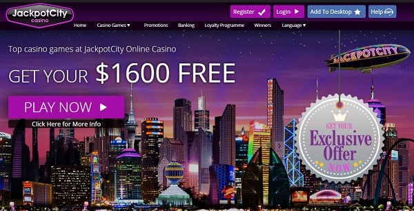 Jackpoyt City $1600 welcome bonus and free spins no deposit required