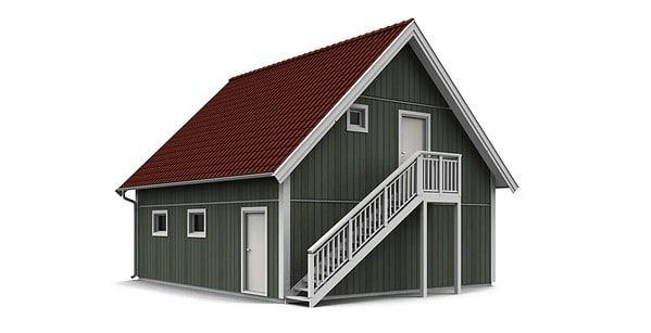 Garage med övervåning / lägenhet 1,5 plan baksida