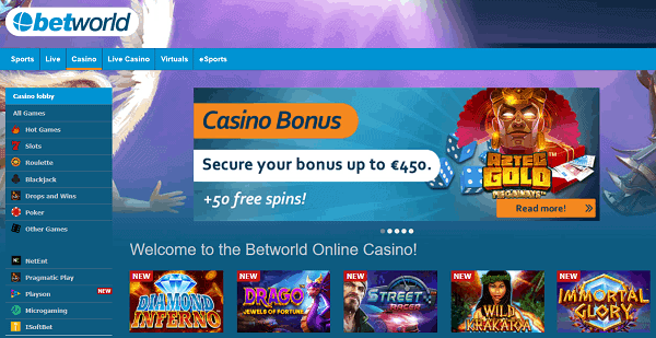 Enjoy 450 EUR in match bonuses and 50 free spins now!