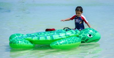 Kids love inflatable at the beach and pool. This one looks like a turtle.