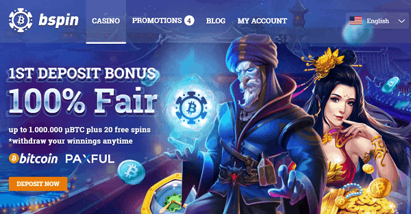 1st deposit bonus - 100% up to 1 BTC and 20 free spins on various slots