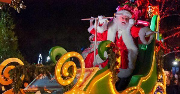 The christmas season parade at stone mountain near atlanta has a great santa on a huge illuminated sleigh.