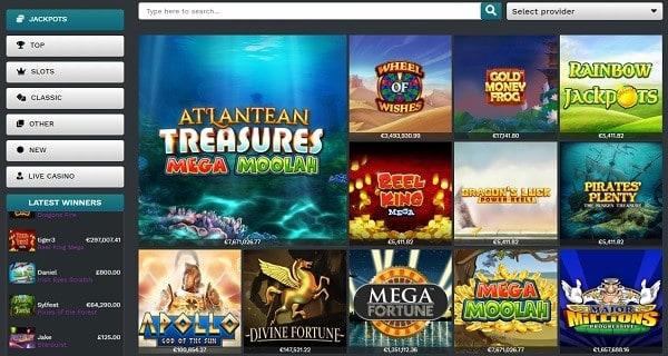 Slots, Video Poker, Live Dealer, Progressive Jackpots, Scratch Cards, Fun Games