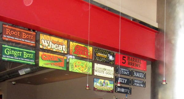 Ithaca tap room has hand-crafted sodas as well as great beer. Their menu is a collection of signs.