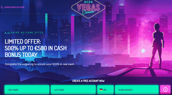 Sign up for 500 free spins!