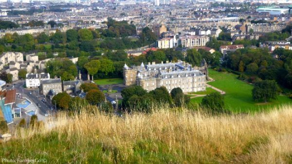 Looking down on holyrood palace in edinburgh from arthur's seat.