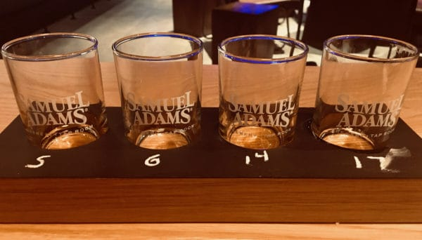 A flight of beers at the sam adams taproom