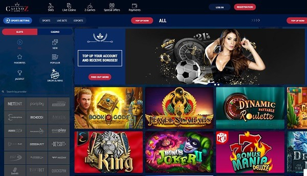 Casino Z Overview - exclusive bonus, free spins, promotions