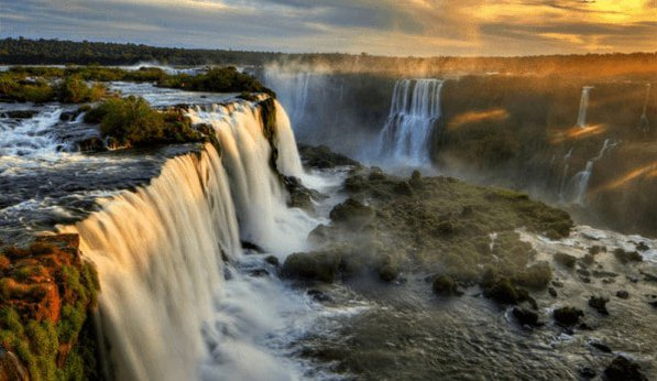 Iguazu falls is a natural wonder that spans two countries