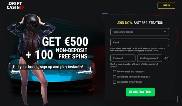 100 free spins to DriftCasino.com - no deposit required