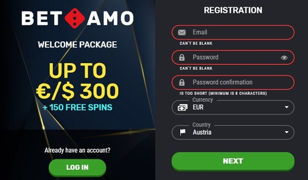 Welcome Bonus at Bet Amo Casino