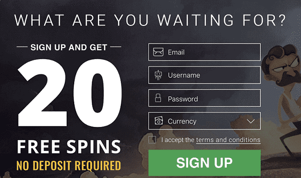 20 gratis spins no deposit bonus at Bitstars