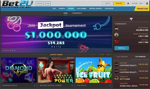 Bet2U Sports and Casino Games website