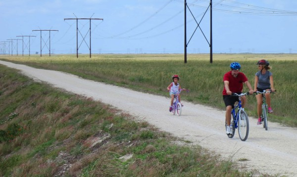 The Markham Park levee trail in Sunrise is a safe spot for family biking.