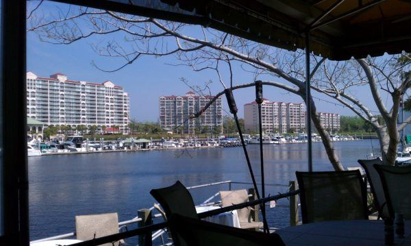 The bay, condo towers and marina at myrtle beach.