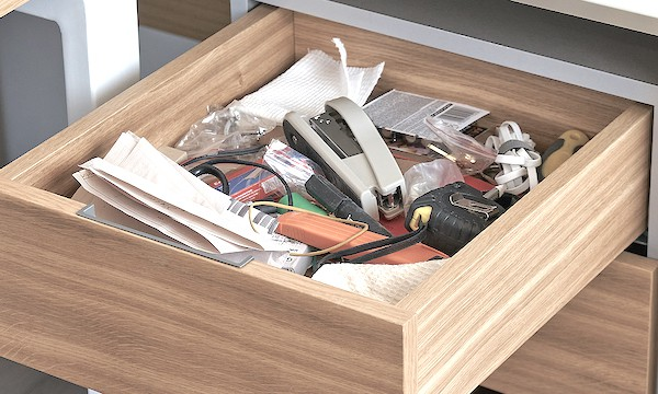 The first step to organize desk drawers: declutter