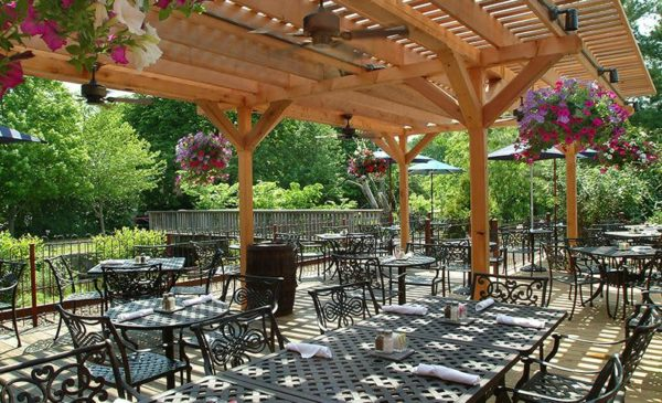 The lovely outdoor terra next to the canal and former train tracks a the lambertville station pub near new hope.
