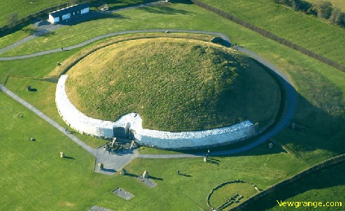 Aerial view of newgrange burial mound
