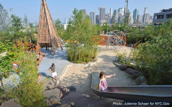 The pier 6 playground in brooklyn bridge park is as visually stunning as it is fun.