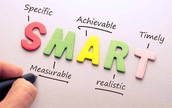 The letters 'SMART' demonstrating what each letter stands for - specific, measurable, achievable, realistic and timely.