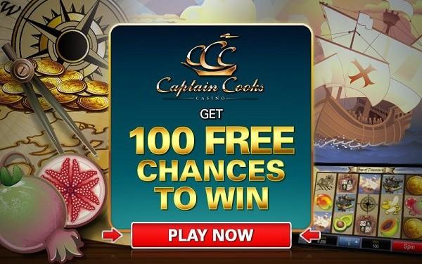 Captain Cooks Casino 100 free chances