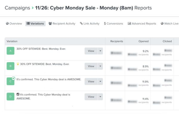 Example Cyber Monday Email Subject Line Test