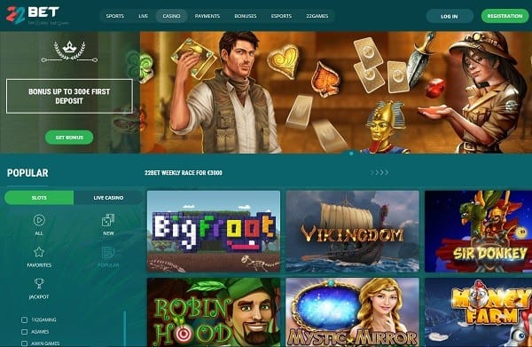 22Bet Casino online and mobile