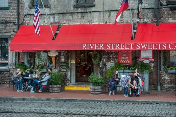 River street sweets is a popular family stop on this touristy savannah street. Look for the red awning.