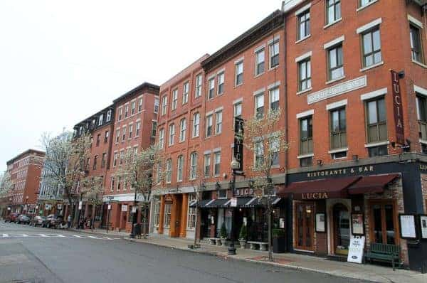 A street of restaurants and caffes in boston's  italian north end.
