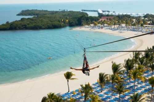 Zip lining on harvest caye