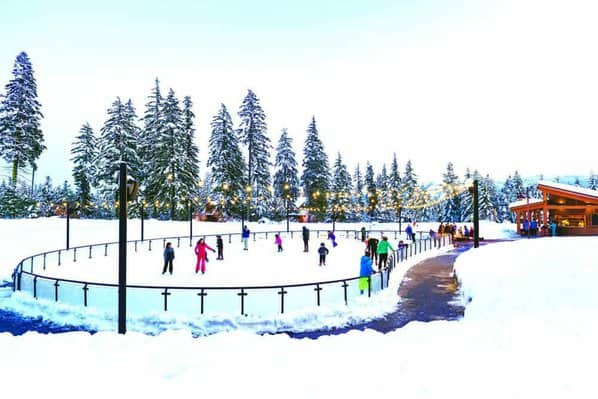 Ice skating outdoors is part of suncadia resort's winterfest.