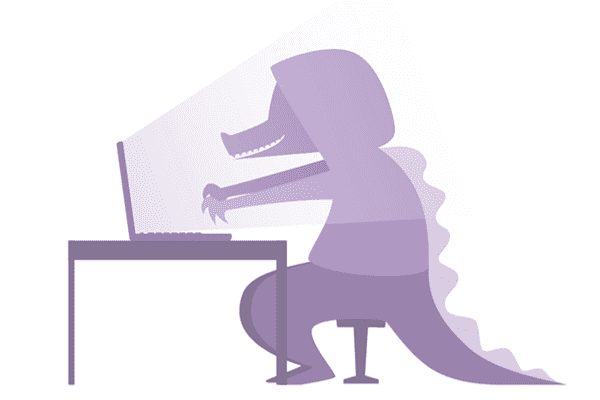 Crocodile in hooded top in front of laptop about to type