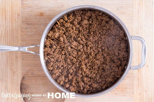 Ground Beef, Pre-cooked for faster meals. Meal prep