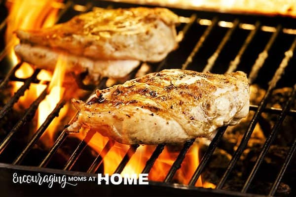 Chicken on the grill - pre-cook your chicken for faster meals.