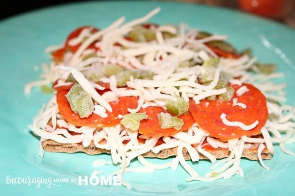 Wasa Crackers with Pizza Toppings ready to bake - THM - Trim Healthy Mama Pizza Recipe
