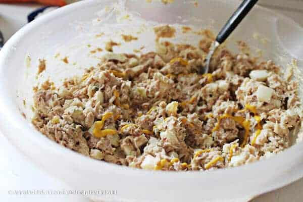 easy tuna salad in bowl