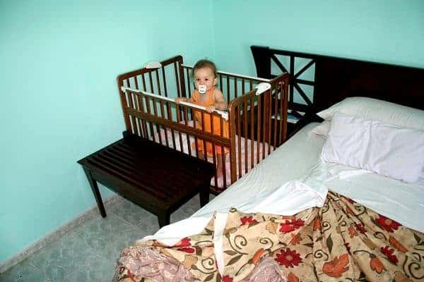 first family vacation, first vacation with baby, cuba with baby, hotel crib
