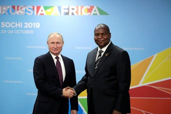 Russian President Vladimir Putin meeting President of the Central African Republic Faustin Archange Touadera