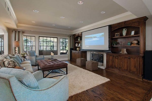 Raymac Remodeling, finished basement with living room and projection screen, bar, bedroom and bathroom