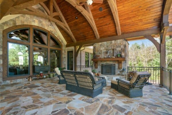 covered flagstone porch