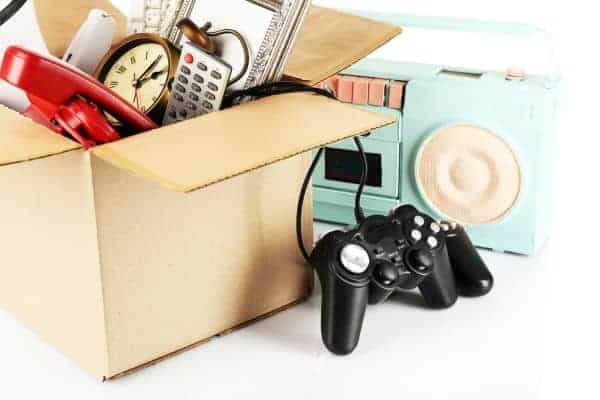 box of miscellaneous items to flip