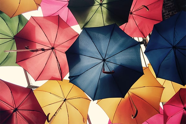 Business insurance for consultants - An array of umbrella, metaphorically representing the protection insurance provides.