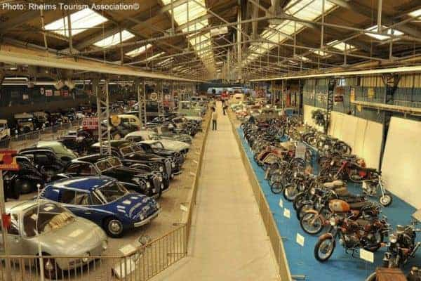 Historic cars on display a the the automobile history in reims