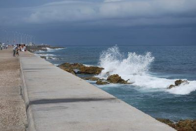 Most of havana's ocean-front is walled off, like this. But there are beaches just outside of town.