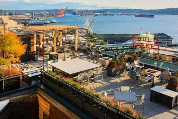 The inn at the market in seattle has stellar views of pike place market and elliott bay.