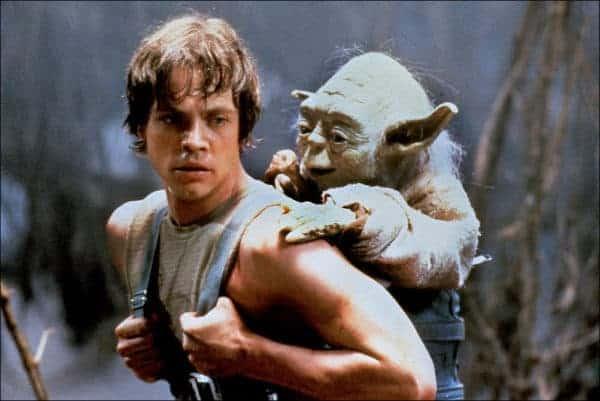 Luke Skywalker with Yoda in a baby carrier