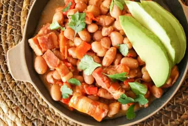 These pinto beans are cooked in dark beer for a rich smoky flavor.