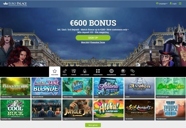 EuroPalace.com free spins new player bonus