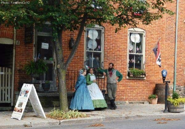 Costumed guides outside the shriver house in gettysburg